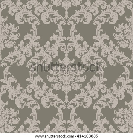 Vector Baroque Vintage floral damask pattern element background. Luxury Classic stylized lily flower Damask ornament, royal Victorian texture for wallpapers, textile, fabric. taupe color ornament