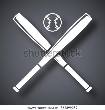 Vector baseball bats and ball icon - stock vector