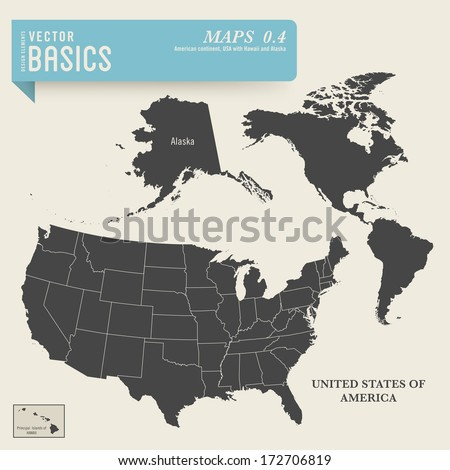 vector basics: detailed map of the American continent and the USA including Alaska and Hawaii - stock vector
