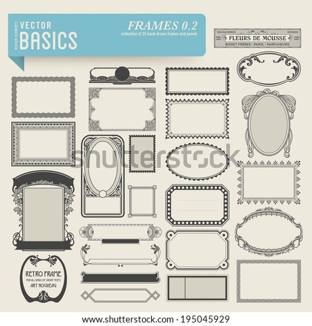 vector basics: frames (2) - set of 25 hand-drawn frames and panels in various styles - stock vector