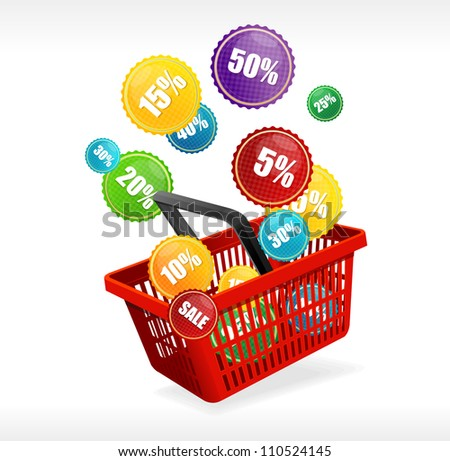 Vector basket and sale labels - stock vector
