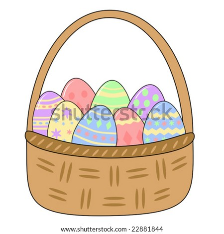 vector basket with decorated easter eggs - stock vector