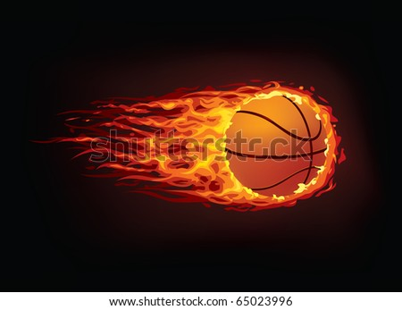Vector basketball ball enveloped in fire flames isolated on black background.