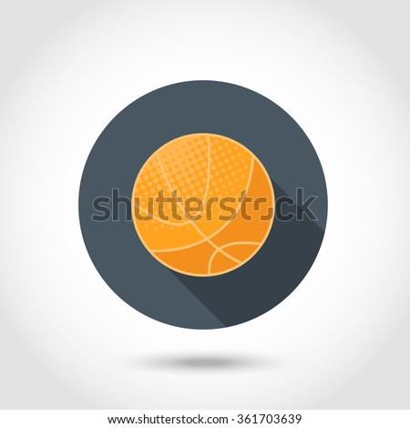 Vector Basketball  ball  icon,sign,symbol,pictogram in flat style with long shadow isolated on a circle.Concept for web banners and printed materials - stock vector