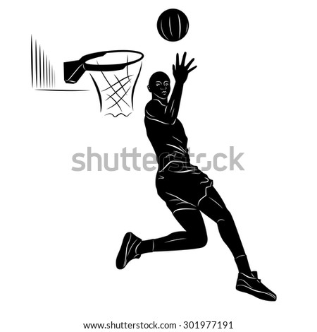 vector basketball player . black and white sketch