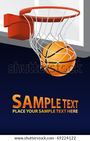 Vector Basketball Poster - stock vector