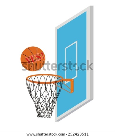 Vector Basketball Scoring Points. Inscription Yes on the ball - stock vector