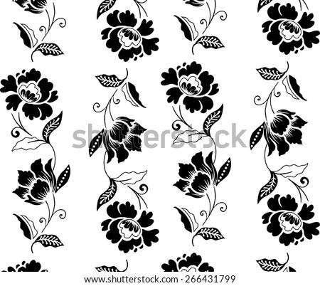 Vector Batik design with black flowers. - stock vector