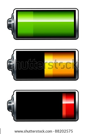 Vector batteries icons. All elements are grouped. - stock vector
