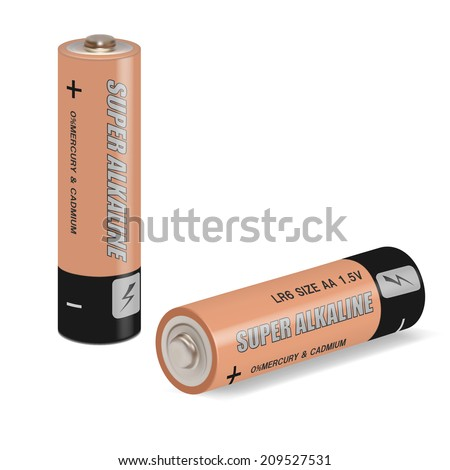 Vector battery aa alkaline - isolated  on white background - stock vector