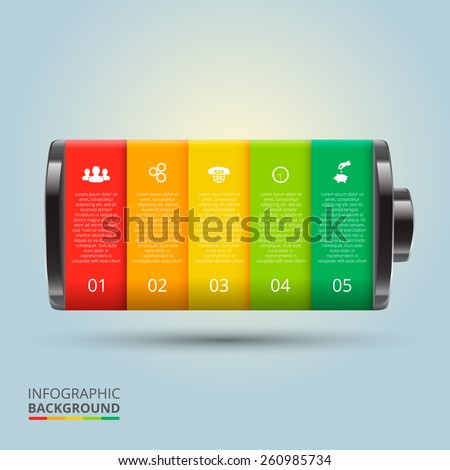 Vector Battery Element Infographic Template Diagram Stock Vector