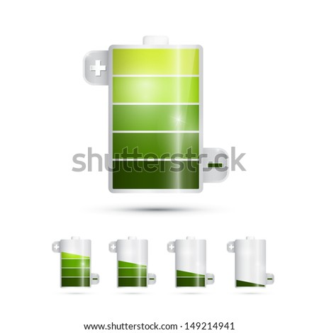Vector Battery Life Symbols Isolated on White Background - stock vector