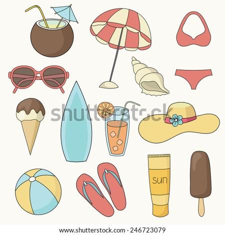 vector beach  icons set - stock vector