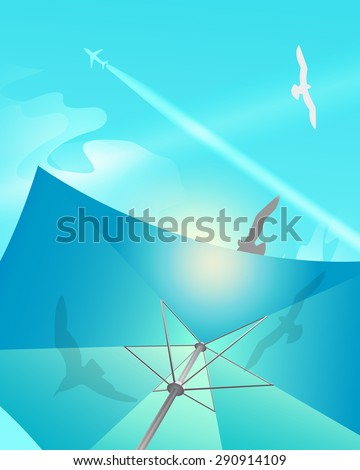 Vector beach umbrella against the sky, seagulls and aircraft