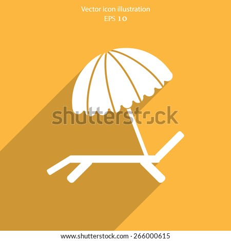 Vector beach umbrella and lounger flat icon illustration. - stock vector