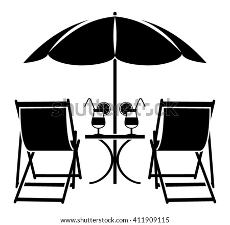 vector beach umbrella, deck chairs and summer cocktails isolated on white background - stock vector