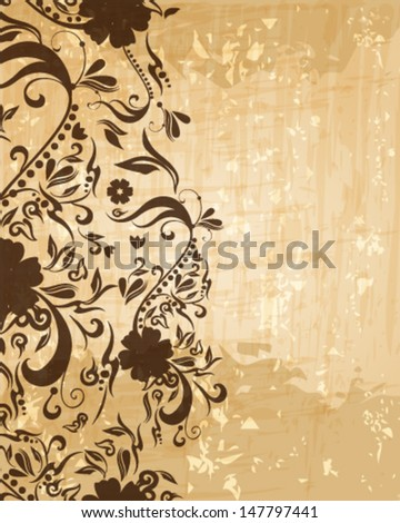 Vector beautiful abstract retro grunge vintage floral background illustration