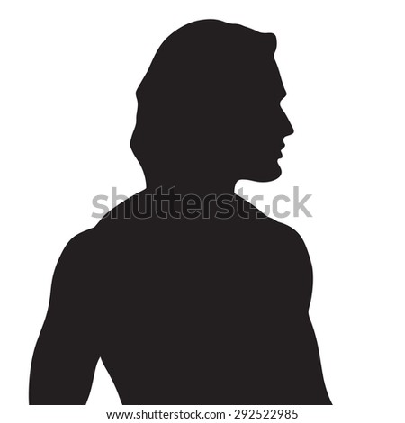 Vector beautiful athletic male silhouette in profile - stock vector