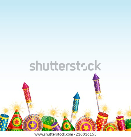 Vector beautiful background of diwali with crackers - stock vector