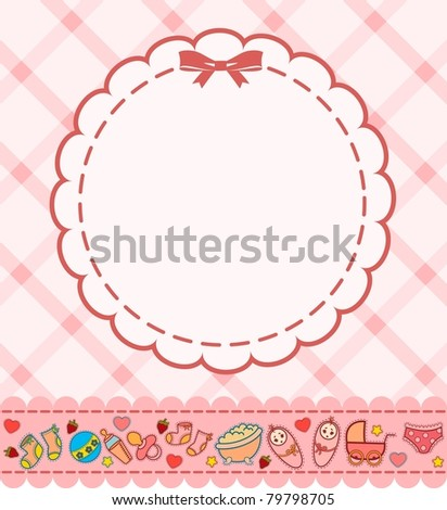 Vector beautiful background with baby icons - stock vector