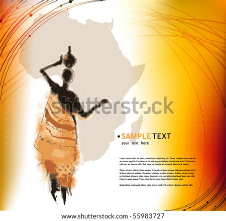 vector beautiful background with illustrated abstract African woman and Africa map - stock vector