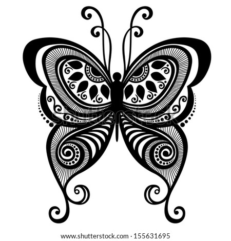 Vector Beautiful Butterfly, Exotic Insect. Patterned design, Tattoo