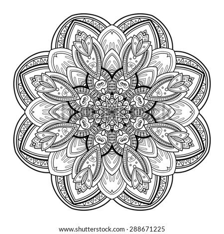 Vector Beautiful Deco Black Mandala, Patterned Design Element, Ethnic Amulet - stock vector