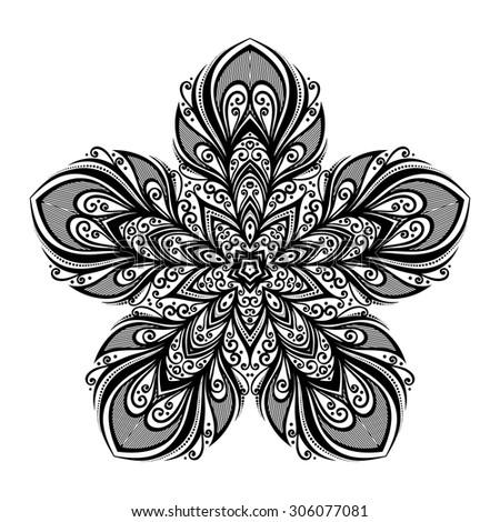 Vector Beautiful Deco Black Star, Patterned Design Element. Original Mandala with 5 Corners. Exotic Sea Fauna - stock vector