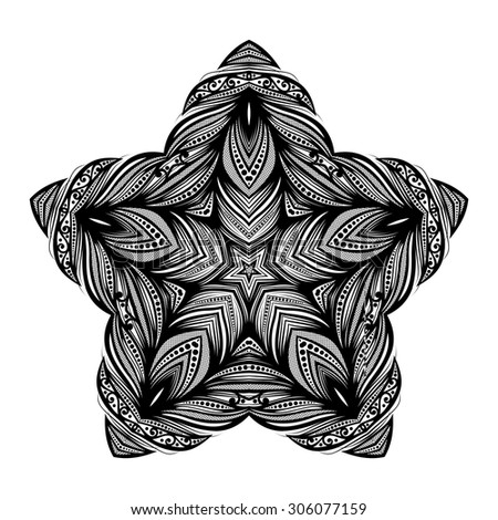 Vector Beautiful Deco Black Star, Patterned Design Element. Original Mandala with 5 Corners. Exotic Sea Fauna - stock vector