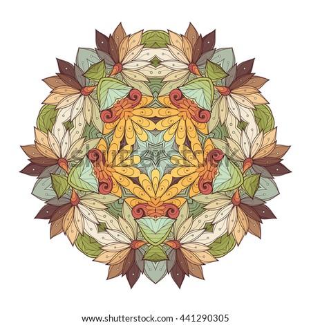 Vector Beautiful Deco Colored Contour Star, Patterned Design Element. Original Mandala with 5 Corners. Exotic Sea Fauna - stock vector