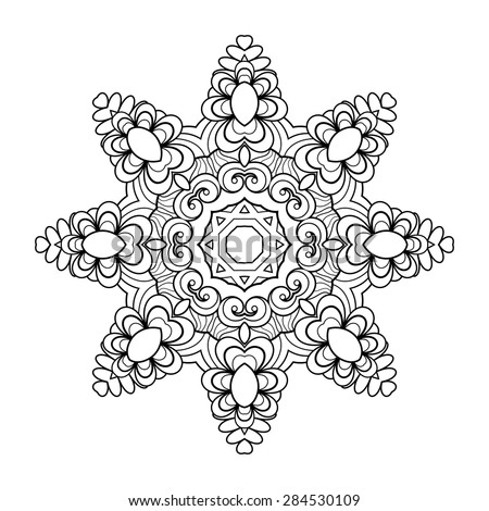 Vector Beautiful Deco Mandala. Eight-Pointed Star. Round Ornament Pattern - stock vector