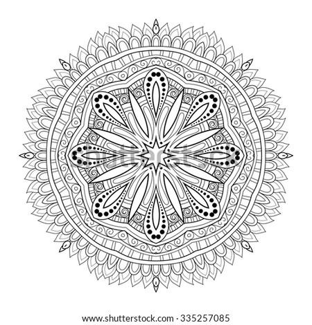 Vector Beautiful Deco Monochrome Contour Mandala, Patterned Design Element, Ethnic Amulet - stock vector