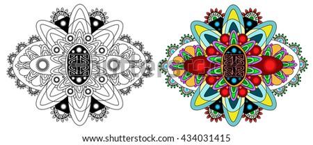 Vector beautiful deco monochrome contour mandala, patterned design element, ethnic amulet. Doodling style. - stock vector