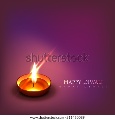 Vector beautiful diwali diya background - stock vector