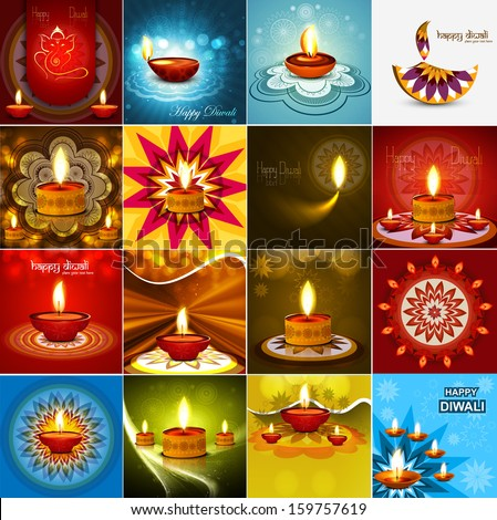 Vector beautiful diwali diya celebration 16 collection card vector - stock vector