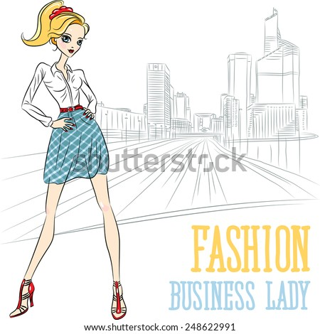 Vector beautiful fashion business girl on city street in Paris, La Defense - stock vector