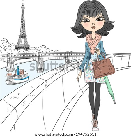 Vector Beautiful fashion girl walking on the waterfront overlooking the Eiffel Tower in Paris - stock vector