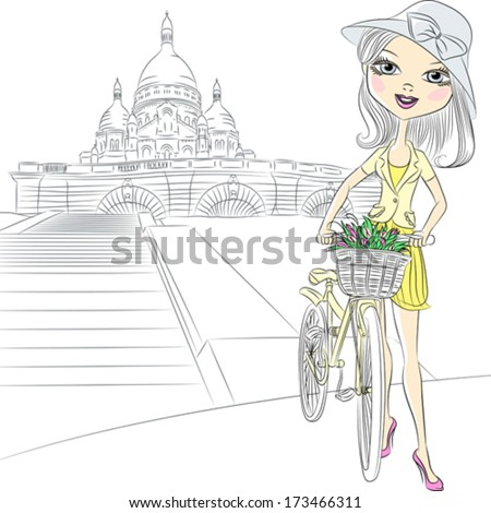 Vector Beautiful fashion girl with a flowers on a bike in front of Sacre Coeur in Paris - stock vector