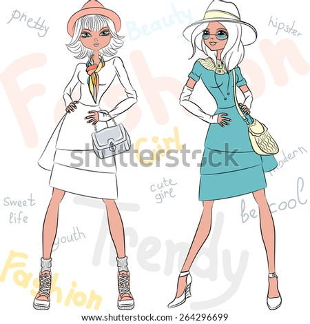 Vector beautiful fashion hipster girls top models in dresses and hats with bags - stock vector