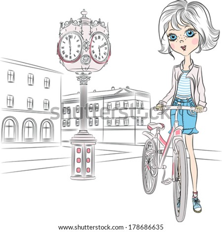 Vector Beautiful fashionable girl with a bike on town square with a clock - stock vector