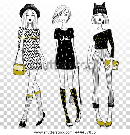 Vector beautiful fashionable girls on transparent background. Cute girlfriends set. Fashion models. Young ladies.  - stock vector