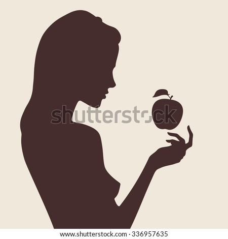 Vector beautiful female silhouette in profile. Snow White and apple - stock vector