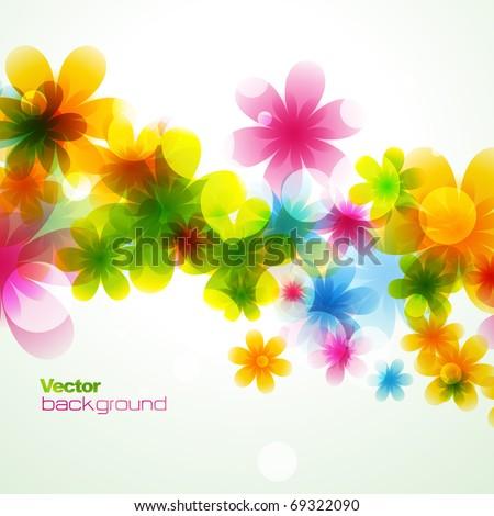 vector beautiful flower background art - stock vector