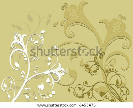 Vector Beautiful flowers created in earth tone colors. With a nice swirling pattern incorporated into the design - stock vector