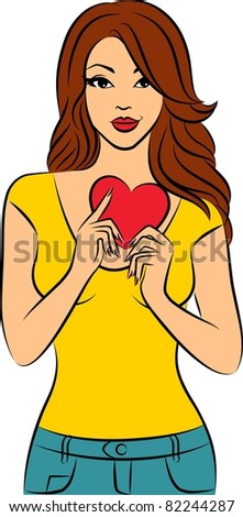 Vector beautiful girl with heart