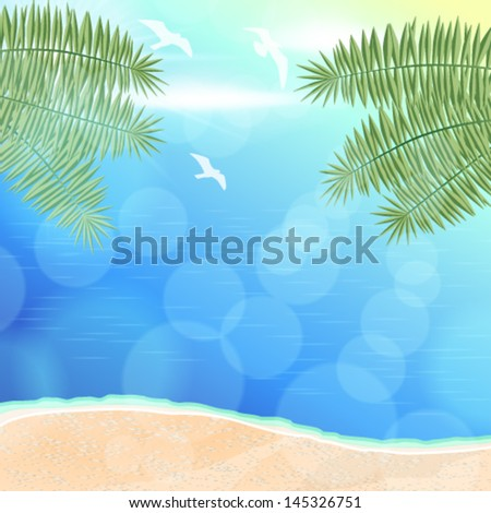 Vector beautiful glittering summer background illustration with ocean, palm leaves, beach and seagulls - stock vector
