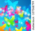 Vector beautiful, glittering summer butterflies illustration - stock vector