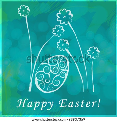 Vector beautiful hand drawn style floral Easter egg greeting card illustration