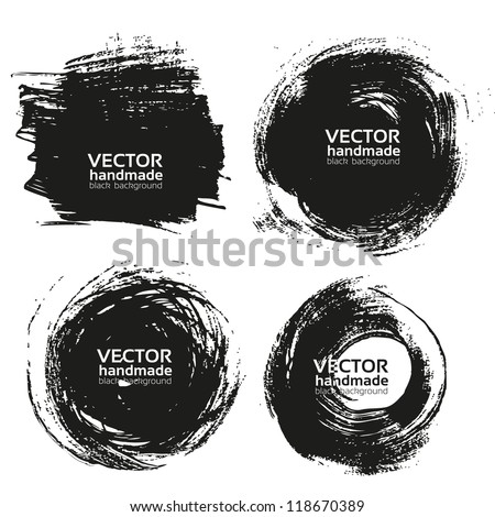 Vector beautiful handmade black strokes- backgrounds painted by brush - stock vector