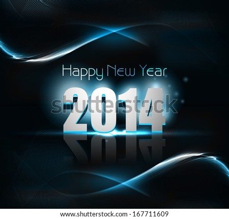 Vector beautiful 2014 happy new year card blue colorful wave background